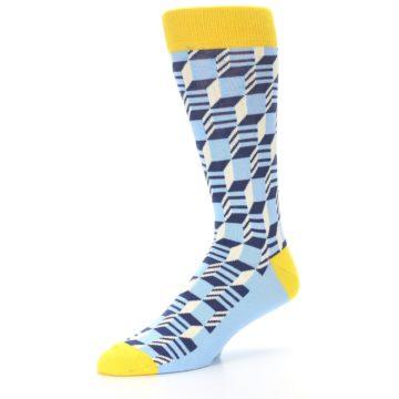Image of Light Blue Yellow Optical Men's Dress Socks (side-2-09)