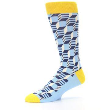 Image of Light Blue Yellow Optical Men's Dress Socks (side-2-10)