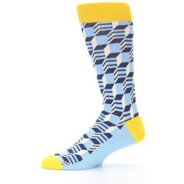 Image of Light Blue Yellow Optical Men's Dress Socks (side-2-11)