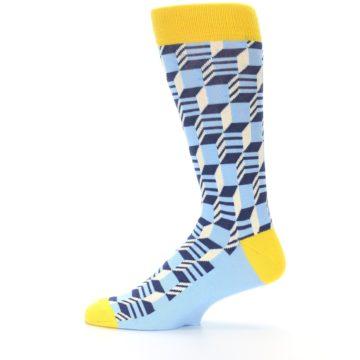 Image of Light Blue Yellow Optical Men's Dress Socks (side-2-12)