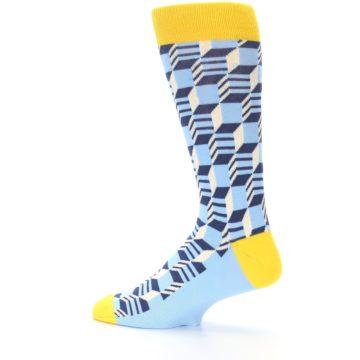 Image of Light Blue Yellow Optical Men's Dress Socks (side-2-13)