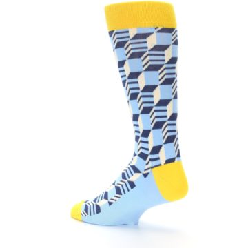 Image of Light Blue Yellow Optical Men's Dress Socks (side-2-back-14)