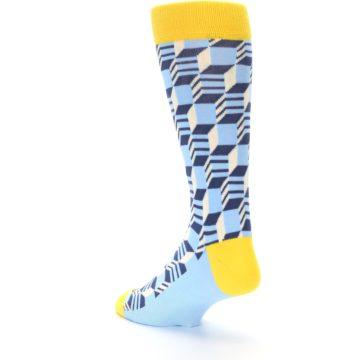 Image of Light Blue Yellow Optical Men's Dress Socks (side-2-back-15)