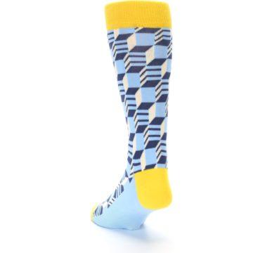 Image of Light Blue Yellow Optical Men's Dress Socks (side-2-back-16)