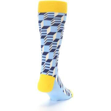 Image of Light Blue Yellow Optical Men's Dress Socks (side-1-back-20)