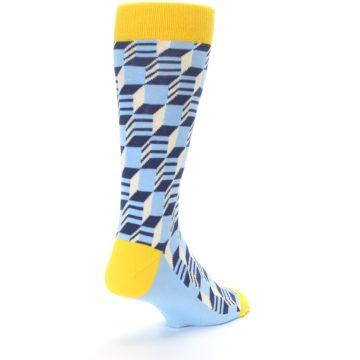 Image of Light Blue Yellow Optical Men's Dress Socks (side-1-back-21)