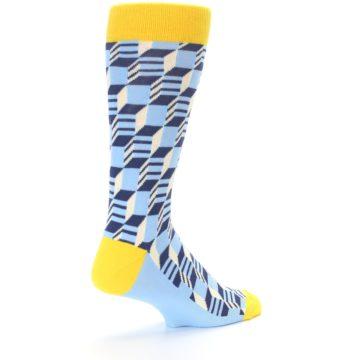 Image of Light Blue Yellow Optical Men's Dress Socks (side-1-back-22)