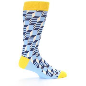 Image of Light Blue Yellow Optical Men's Dress Socks (side-1-24)