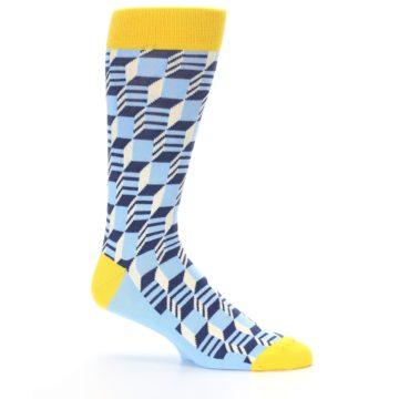 Image of Light Blue Yellow Optical Men's Dress Socks (side-1-25)