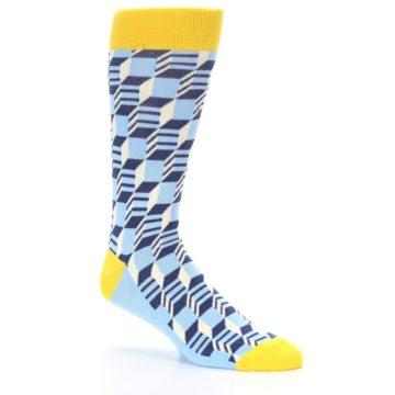 Image of Light Blue Yellow Optical Men's Dress Socks (side-1-26)