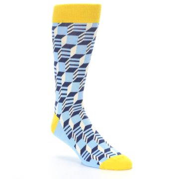 Image of Light Blue Yellow Optical Men's Dress Socks (side-1-27)