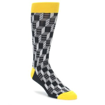 Filled Optical Pattern Socks in Gray and Yellow by Statement Sockwear