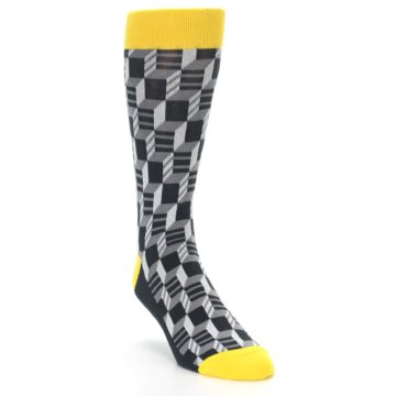 Image of Grey Yellow Optical Men's Dress Socks (side-1-front-02)