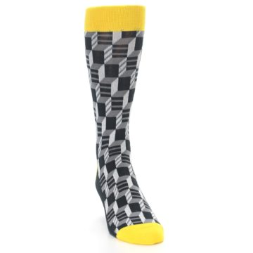 Image of Grey Yellow Optical Men's Dress Socks (side-1-front-03)