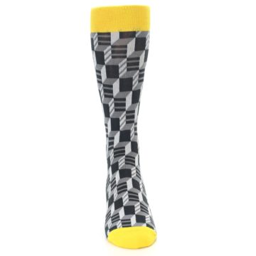 Image of Grey Yellow Optical Men's Dress Socks (front-04)