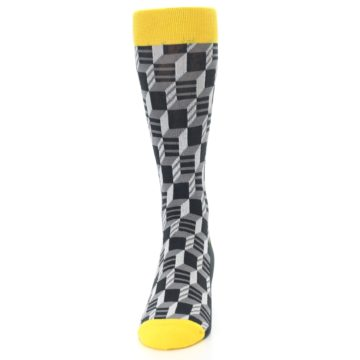 Image of Grey Yellow Optical Men's Dress Socks (front-05)
