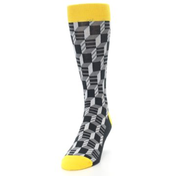 Image of Grey Yellow Optical Men's Dress Socks (side-2-front-06)