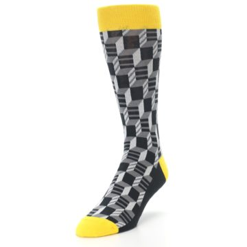 Image of Grey Yellow Optical Men's Dress Socks (side-2-front-07)