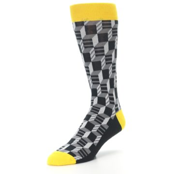 Image of Grey Yellow Optical Men's Dress Socks (side-2-front-08)