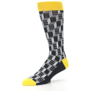 Image of Grey Yellow Optical Men's Dress Socks (side-2-09)