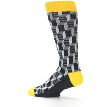 Image of Grey Yellow Optical Men's Dress Socks (side-2-13)