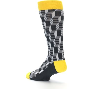 Image of Grey Yellow Optical Men's Dress Socks (side-2-back-14)