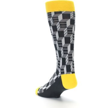Image of Grey Yellow Optical Men's Dress Socks (side-2-back-15)
