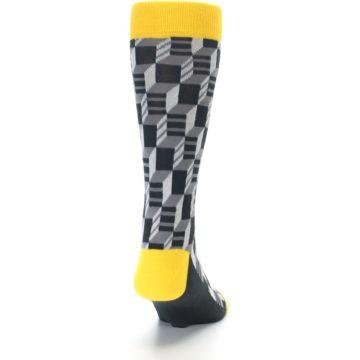 Image of Grey Yellow Optical Men's Dress Socks (back-19)