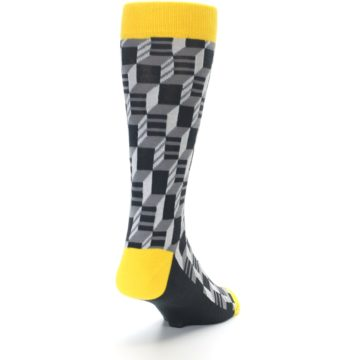 Image of Grey Yellow Optical Men's Dress Socks (side-1-back-20)