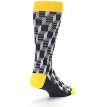 Image of Grey Yellow Optical Men's Dress Socks (side-1-back-21)