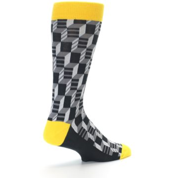 Image of Grey Yellow Optical Men's Dress Socks (side-1-back-22)
