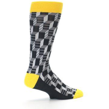Image of Grey Yellow Optical Men's Dress Socks (side-1-23)