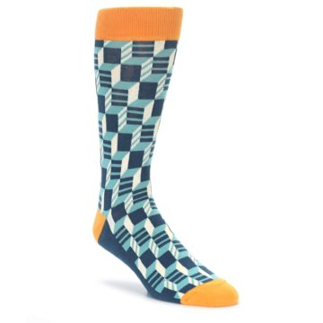 Filled Optical Pattern Socks in Teal and Orange by Statement Sockwear