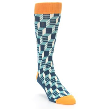 Image of Teal Orange Optical Men's Dress Socks (side-1-front-02)