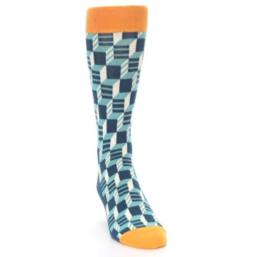 Image of Teal Orange Optical Men's Dress Socks (side-1-front-03)