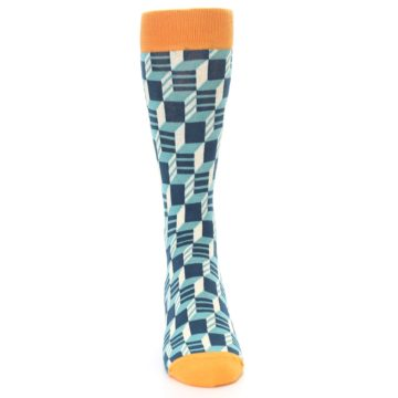 Image of Teal Orange Optical Men's Dress Socks (front-04)