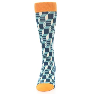 Image of Teal Orange Optical Men's Dress Socks (front-05)