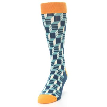 Image of Teal Orange Optical Men's Dress Socks (side-2-front-06)
