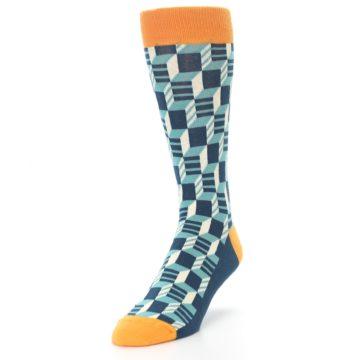 Image of Teal Orange Optical Men's Dress Socks (side-2-front-07)