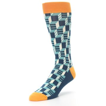 Image of Teal Orange Optical Men's Dress Socks (side-2-front-08)