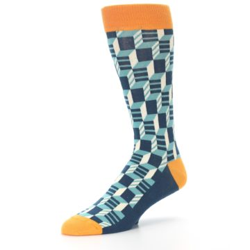 Image of Teal Orange Optical Men's Dress Socks (side-2-09)