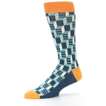 Image of Teal Orange Optical Men's Dress Socks (side-2-10)