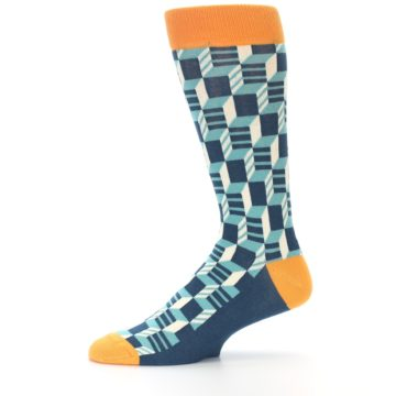 Image of Teal Orange Optical Men's Dress Socks (side-2-11)