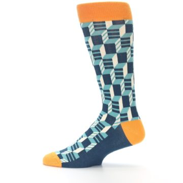 Image of Teal Orange Optical Men's Dress Socks (side-2-12)