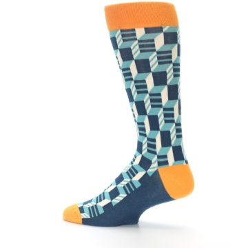 Image of Teal Orange Optical Men's Dress Socks (side-2-13)