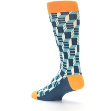 Image of Teal Orange Optical Men's Dress Socks (side-2-back-14)