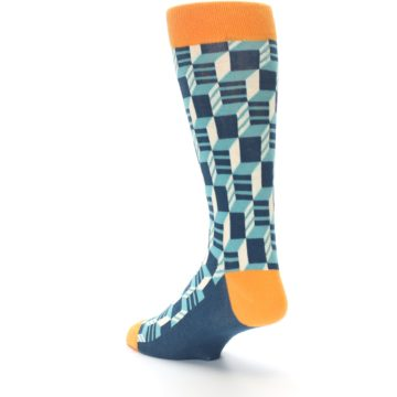 Image of Teal Orange Optical Men's Dress Socks (side-2-back-15)