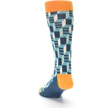 Image of Teal Orange Optical Men's Dress Socks (side-2-back-16)