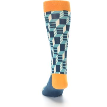 Image of Teal Orange Optical Men's Dress Socks (back-17)