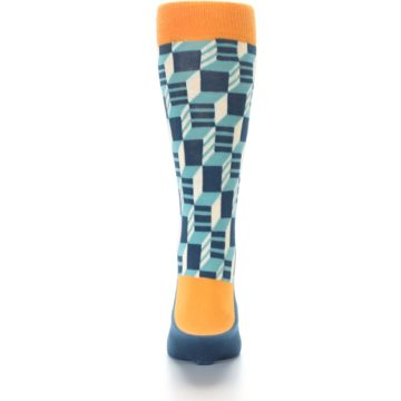 Image of Teal Orange Optical Men's Dress Socks (back-18)